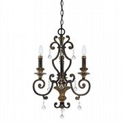 Marquette 3 Light Chandelier in Rich Bronze and Gold with Crystal Decoration - QUOIZEL QZ/MARQUETTE3
